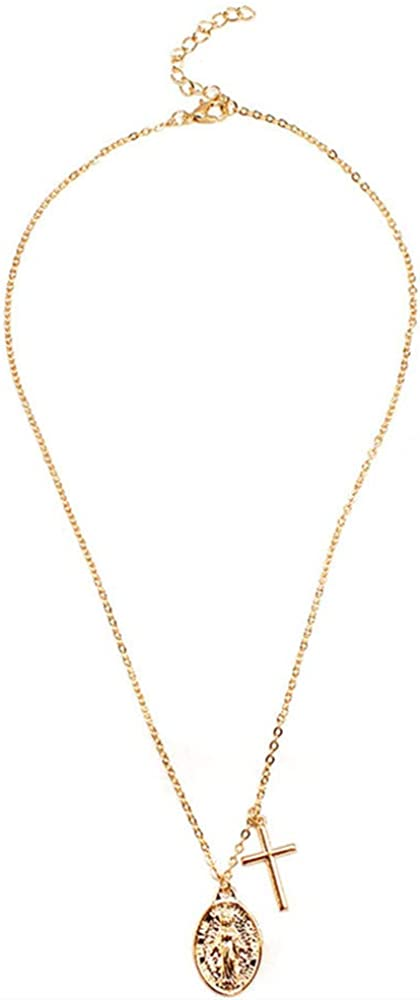 SWAOOS Long Chain Virgin Mary Cross Necklace Female Pendants Clavicle Choker Necklace Collares Jewelry Gifts for Women