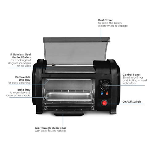 Product Image 4: Elite Gourmet EHD-051B Hot Dog Toaster Oven, 30-Min Timer, Stainless Steel Heat Rollers Bake & Crumb Tray, World Series Baseball, 4 Bun Capacity, Black