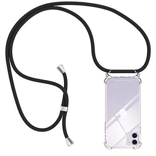 AODOOR Handykette Kompatibel mit iPhone 11, iPhone 11 Hülle Kette Handyhülle Umhängen mit Band Silikon Bumper Hülle, Handyhüllen mit Kordel Necklace Schnur Handyband für iPhone 11 (6,1')