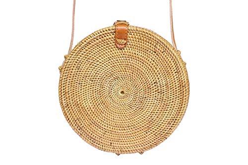 Circle Basket Bali Bag; Canteen style Woven Summer Basket Bag