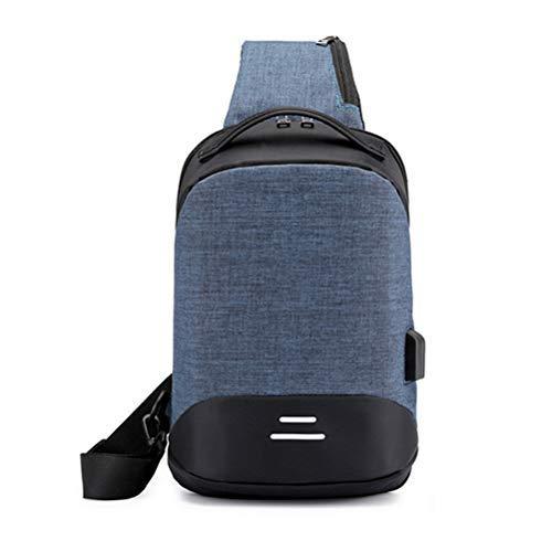 Bolsa de pecho de carga USB de viaje corto mensajeros bolsa de pecho antirrobo Sling Bolsas hombres bolsa de hombro