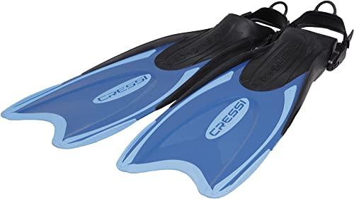 Cressi Palau Aleta Regulable específica para su Uso con el pie Descalzo o con Escarpines sin Suela, Unisex, Azul/Azul Claro, XXS/XS (32/35)