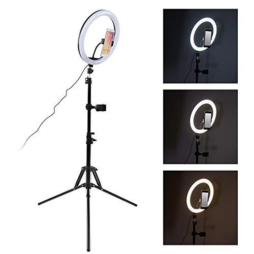 Oumij1 12 Zoll LED Ring Ring Set - 160 cm Alu Lampenhalter - 3000-6800k Einstellbare Zweifarbige Temperatur - Fotografie Fülllampe - Mit Kugelkopf/Telefonclip