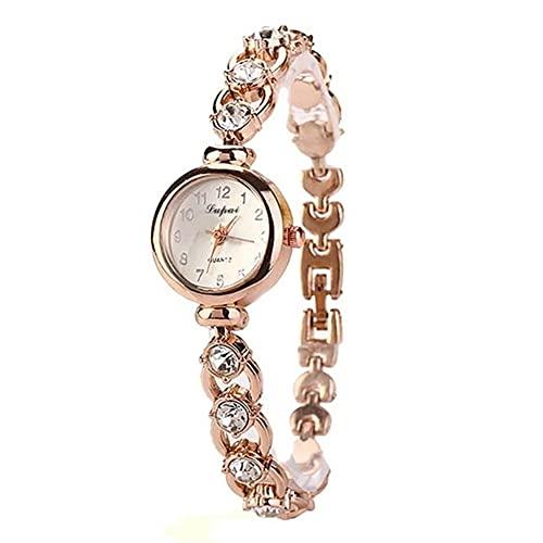 WYH Reloj de Pulsera Moda Cuarzo Cronógrafo Relojes de muñecaLadies Elegantes Mujeres Pulsera Rhinestones Cristal de Mujeres Pequeño Reloj de dial Ultra Fino (Color : Gold)