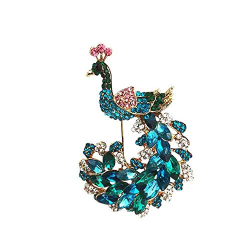 Unique Elegant Peacock Brooch Pins Women Ladies Corsage Flower Rhinestone Jewellery Birthday Wedding Valentines Decorative Gifts-Green