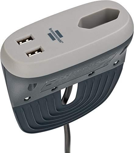 Brennenstuhl estilo Sofa-Steckdose mit USB-Ladefunktion (Möbel-Steckdose mit 1x Euro-Steckdose und 2x USB-Charger, Bett-Steckdose mit Halteschiene), Anthrazit/Grau