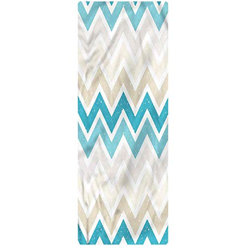 Aqua Runner Rug, 2'x6', Grunge Abstract Zig Zags Decorative Runner Rug with Non Slip Backing for Hallway Entry Way Floor Carpet