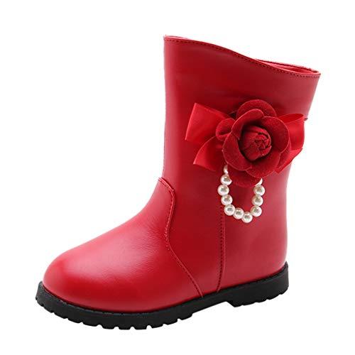 Snakell Mädchen Stiefel Kleinkind Babyschuhe Koreanische Neue Stiefel Version des Winters Plus Samtstiefel Kinder Prinzessin Stiefel Mädchen Stiefel Schmetterlingsknoten Prinzessin Stiefel