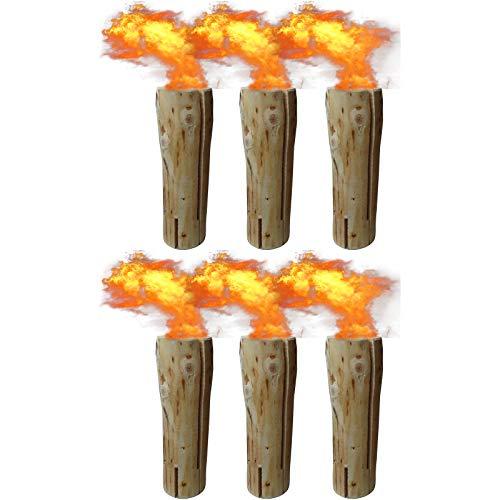 6 x Schwedenfeuer inkl. Anzünder | Finnenfeuer | Baumstammfackel | Gartenfackel | Lichtrollen | Höhe ca. 47cm, Durchmesser ca. 15-17cm, Brenndauer ca. 100-120 Minuten