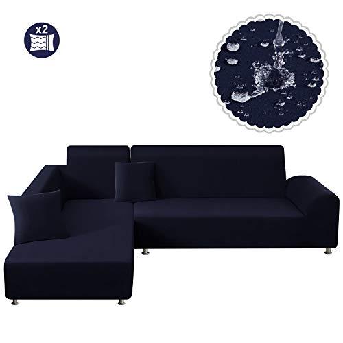 TAOCOCO Sofa Überwürfe Sofabezug Elastische Stretch Wasserdicht Sofa Abdeckung für L-Form 2er Set mit 2 Stücke Kissenbezug (3 Sitzer+3 Sitzer, Dunkelblau)