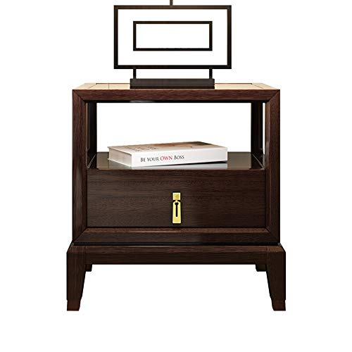 Sale!! DERTHWER Nightstand, Chinese Wood Nightstand Bedside Table Bedroom with Drawer Bedside Cabine...