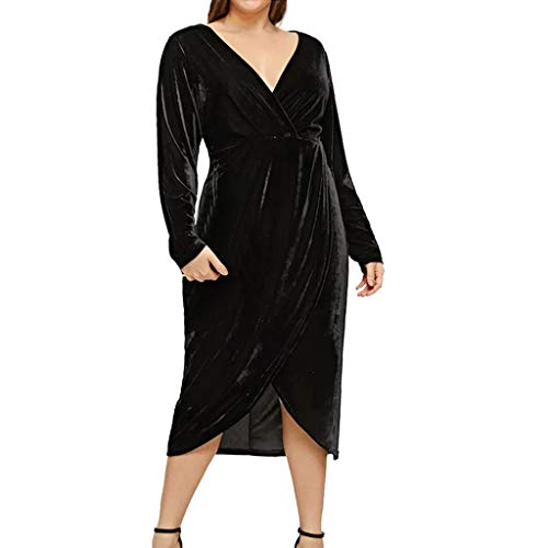 Sisifa Langes Cocktailkleid Mode Elegante Frauen Samtkleid Plus Size Solide V-Ausschnitt Langarm Split Lose Maxi Kleid Party Kleid Abendkleid Freizeitkleid für Frauen