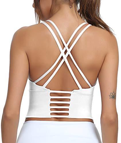 OUTUOSI Sujetadores deportivos acolchados para mujer, sin alambre, sujetador de yoga de impacto medio, espalda cruzada, sujetador de apoyo para fitness, yoga, gimnasio