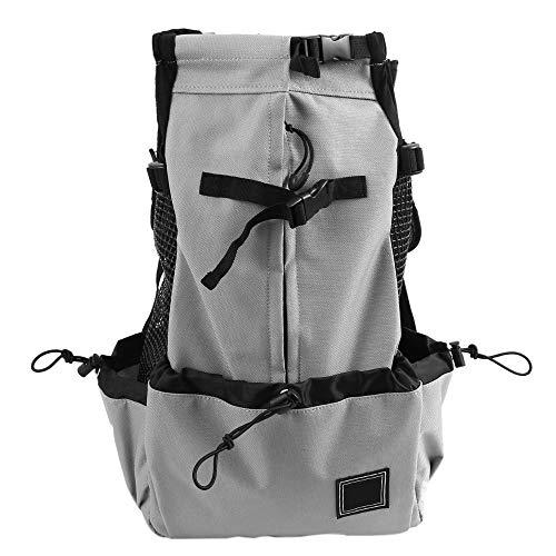 Sac à dos porte-chien respirant de luxe, sac de transport sécuritaire pour sac à dos avec design Head Out et épaule matelassée ajustable double pour le voyage, camping, vélo, moto, randonnée,Gray,L