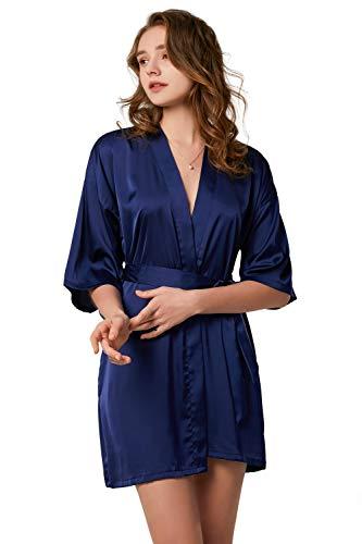 YONIER Ropa de Dormir Suave Bata Ligera para Mujer Satén Batas Mujer de Pijamas Albornoces Vestido de Dama para Muje de Dormir M-XXL