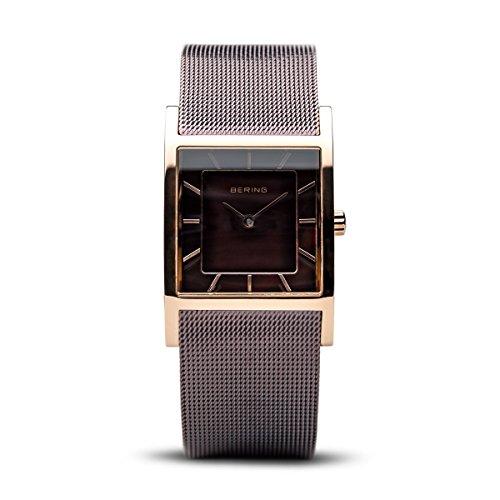 Bering Classic - Reloj analógico de mujer de cuarzo con correa de acero inoxidable marrón - sumergible a 50 metros