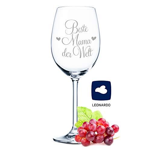 Leonardo Weinglas mit Gravur - Beste Mama der Welt - Geschenk für Mama ideal als Muttertagsgeschenk - Weißweinglas Rotweinglas als Geburtstagsgeschenk für Mama Farbe Daily