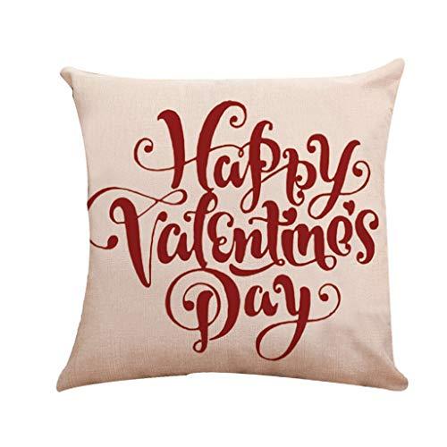 Zimuuy Sofa Pillowcase.Taie d'oreiller en Lin de Tapisserie d'ameublement de Sofa de Voiture de Famille de modèle de Valentine(Taille Unique,C)