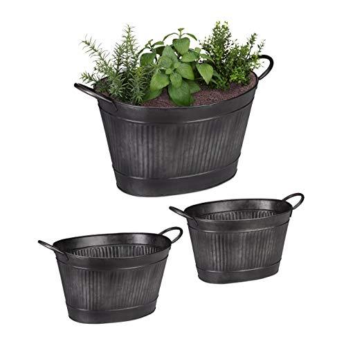 Relaxdays Jardineras Metal Ovaladas de Estilo Vintage, 3 Unidades, Hierro Galvanizado, Gris Oscuro, Varios Tamaños