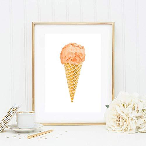 Din A4 Kunstdruck ungerahmt - Eis Eistüte Waffel Eiskugel Orange Küche Esszimmer Aquarell Geschenk Druck Poster Bild