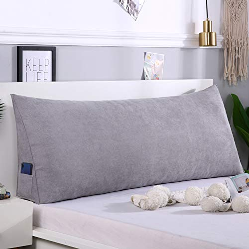 Z&H Solid Color Wedge Pillow Triangular Headboard Cushion,Reading Back Cushion Seat Cushion Back Position Support Sofa 1.2m Bed Reading Pillow Cover Dark Gray 120 * 50 * 20cm(47 * 20 * 8')