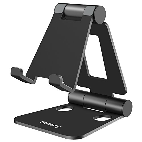 Nulaxy Adjustable Phone Stand, Cell Phone Stand, Phone Holder for Desk Cradle Dock Compatible with Phone 11 Pro Xs Xs Max Xr X 8, iPad mini, Nintendo Switch, Tablets (7-10'), All Phones