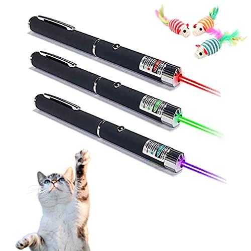 Laser Katzenspielzeug,Elektrisches Katzenspielzeug, 3Pcs Interaktives Katzenspielzeug mit Laserpointer Katzen Hund Spielzeug Haustier Interaktives Spielzeug für Katzen und Hunde