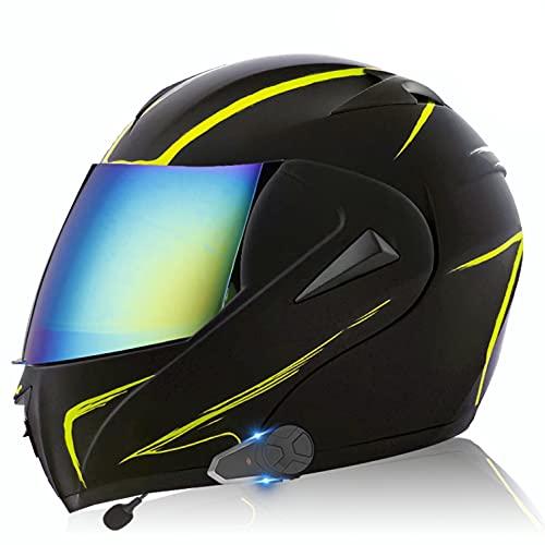 Bluetooth Walkie Talkie Casco de Moto Modular, ECE Homologado Cascos de Motocicleta,Doble Visera,Sistemas de comunicación por intercomunicador para Adultos Hombres Mujeres J,M