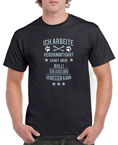 Comedy Shirts - Ich arbeite verdammt hart damit Mein Bulli. - Herren T-Shirt - Schwarz/Eisblau-Weiss Gr. XXL