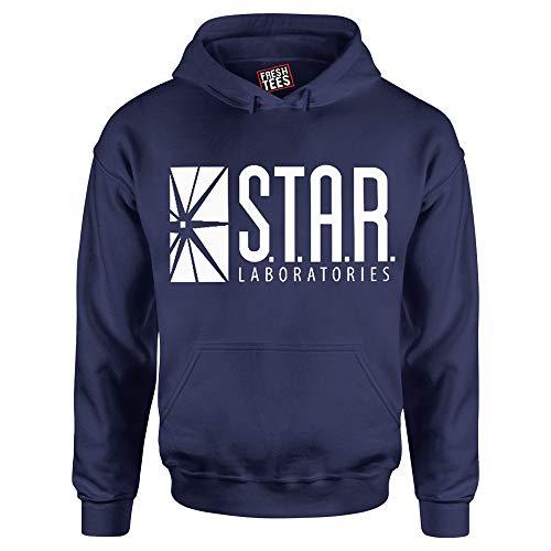 fresh tees Star Laboratories S.T.A.R. Labs Hooded Sweatshirt (Medium, Navy)