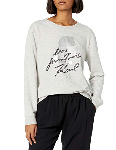 Karl Lagerfeld Paris Damen from Paris Love Karl Silhouette Sweatshirt, Light Heather Grey/Silver, Mittel
