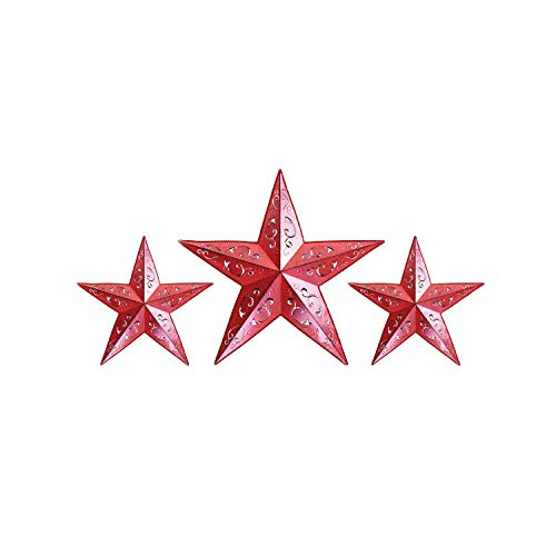 RED LACY METAL BARN STAR SET - 2X 12' 1X 18' for rustic...