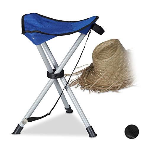 Relaxdays Dreibein-Hocker Campinghocker, Blau, M