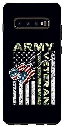 Galaxy S10+ Camo National US Flag Dog Tag Soldier Army Veteran Phone Case