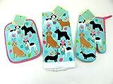 Mainstream Easter Kitchen Towel, Oven Mitt, Pot Holder Set Dogs Bunny Ears