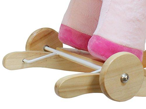Dunjo® Baby Schaukelpferd Schaukeltier Rosa Einhorn | Ab 1 – 3 Jahre | mit Rollen, Sound-Modul, Babysitz - 3