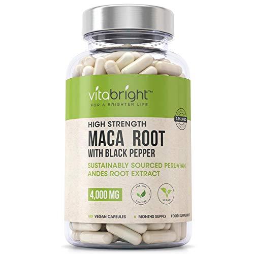 Maca Root Capsules 4000mg - 180 Vegan Max Strength Capsules - 6 Month Maca Root Tablets Supply - Premium Macca Root Capsules - Maca Root Extract with Black Pepper – Made in The UK