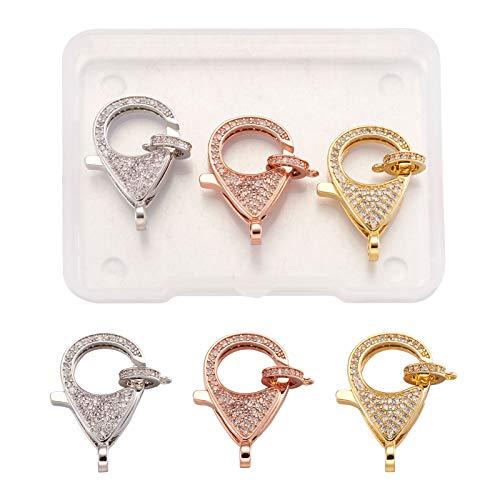 PandaHall 3 cierres de langosta con circonita cúbica con eslabones de 3 colores de diamantes de imitación para collares, pulseras y accesorios para hacer joyería