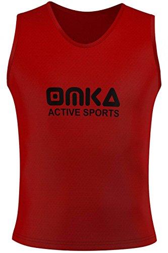 OMKA 12 Stück Fußball Leibchen Trainingsleibchen Markierungshemd Fußballleibchen für Kinder Jugend und Erwachsene, Farbe:Rot, Bibs:Senior (L)