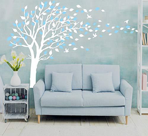 Sayala Adhesivo mural para habitación infantil, pegatinas, decoración para el cuarto del bebé, árbol de ciruelo - cherry birlds (Azul)
