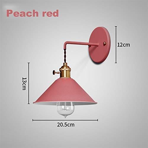 WWY Applique de Chevet Moderne allée Applique Chambre Lire la Lampe Murale Salle de Bains colorée E27 Luminaires de Support en cuivre Pur (Lampshade Color : Rad)
