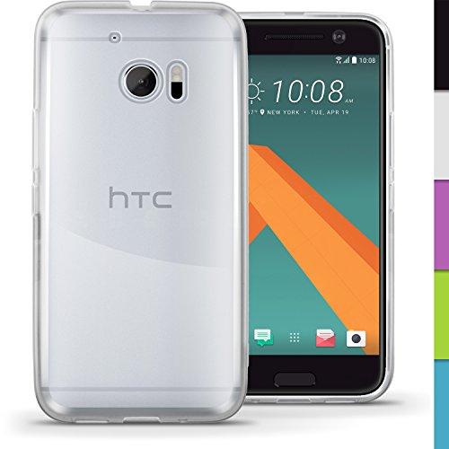 igadgitz Transparent Klar Glänzend Etui Tasche Hülle Gel TPU für HTC 10 2016 Case Cover + Bildschirmschutzfolie