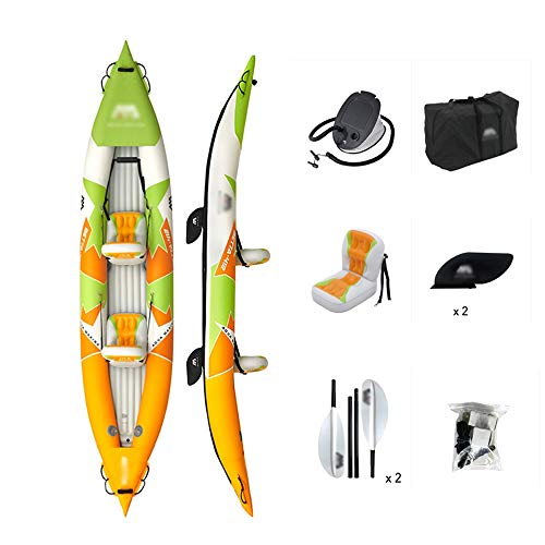 BZLLW Inflatable Kayak,Inflatable Tandem White-Water Kayak,with High Pressure Floor and EVA Padded Seats with High Back Support,for Adult Water Sport
