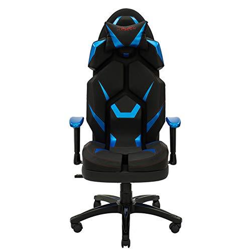 Silla Gaming, Oficina Escritorio Silla con Ruedas De Juveniles, PC Despacho Ergonomica Chair, SillóN Reclinable Giratorio Elevable Ajustable De 130 °, 3 Colores, Almohada,Azul