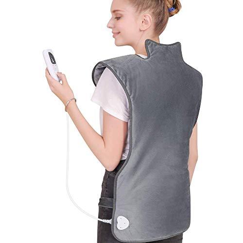 WELTEAYO Heizkissen für Nacken Schulter Rücken, 100x50cm Schnellheizung Wärmekissen Elektrisch mit 6 Stufen Temperaturstufen, Abschaltautomatik und Überhitzungsschutz, maschinenwaschbar, Grau