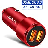 Car Charger, JSAUX Quick Charge 3.0 3A Dual USB Ports 36W Fast Car Adapter Metal Compatible with Samsung Galaxy S10 S9 S8 S20 Plus Note 10 9 8 S7, iPhone Xs Max XR X 8 7 6, iPad, LG G6 V20, Moto Red