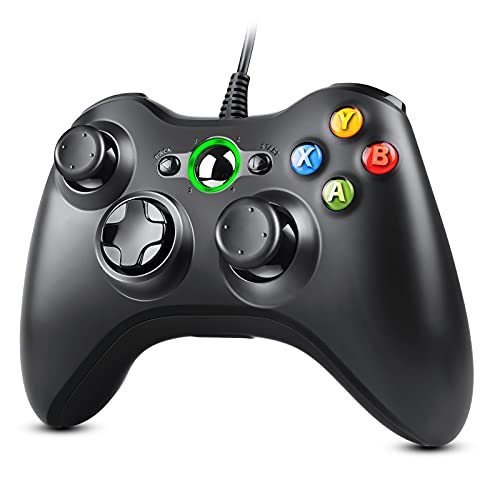 Zexrow Xbox 360 Mando de Gamepad, USB Wired Controlador de Xbox 360 con Vibración, Controlador de Gamepad para Xbox 360 Mando para PC Windows XP/7/8/10