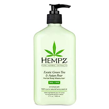 Exotic Natural Herbal Body Moisturizer with Pure Hemp Seed Oil Green Tea and Asian Pear 17 Fluid Ounce - Pure Nourishing Vegan Skin Lotion for Dryness and Flaking with Acai and Goji Berry