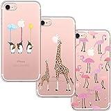 [3 Pack] Funda iPhone 7, Funda iPhone 8, Funda de Silicona Blossom01 Ultra Suave Funda TPU Silicona con Dibujo Animado Lindo para iPhone 7/8 - Flamingo & Jirafa & Pingüino