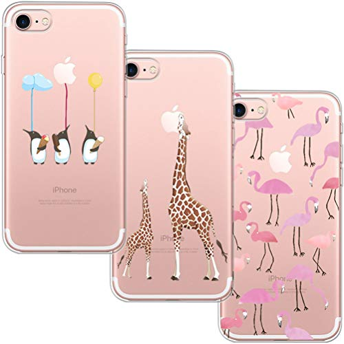 [3 Pack] Funda iPhone 7, Funda iPhone 8, Funda de Silicona Blossom01 Ultra Suave Funda TPU Silicona con Dibujo Animado Lindo Para iPhone 7 / 8 - Flamingo & Jirafa & Pingüino